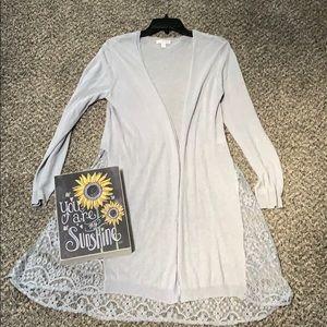 LC Lauren Conrad Gray/Soft Lavender Lace Sweater